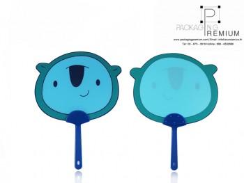 พัดพรีเมี่ยมพลาสติก การ์ตูนสีฟ้า